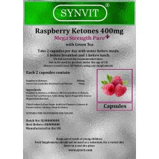 Raspberry Ketone 400mg Mega Strength Pure+ with Green Tea