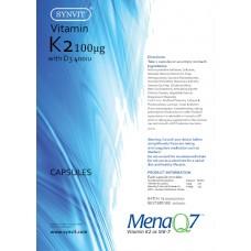 Vitamin K2 MenaQ7 (MK-7) 100mcg with Vit D3 400iu